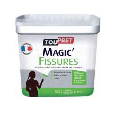 Kit TOUPRET Magic Fissures grands travaux gamme GSB 4kg : 1 enduit de rebouchage, 1 spatule, 1 Rouleau et 5m de bande à fissures