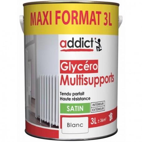 Laque ADDICT glycéro multi-supports satin blanc 3L
