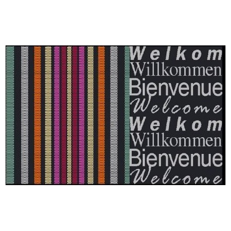Tapis DECORMAT Welcome rayures 40x60cm